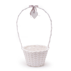 Basket Garden Heart Ø24 H16cm white