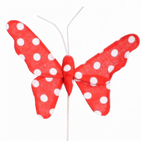 Butterfly Satin 8cm on 15cm stick red