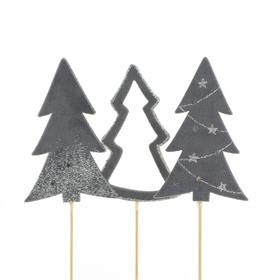Trees Natalee 10cm on 50cm stick ass. x3 FSC Mix gray