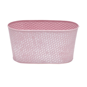 Zinc Oval Honeycomb 9.4x4.7xh4.7 in pink