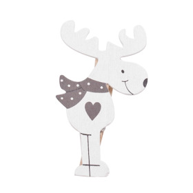Deer Love 9cm on clip white/gray