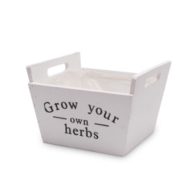 Wooden planter Herbs 7.4x7.4 H4 in white