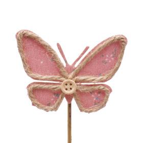 Butterfly Linn 8.5cm on 10cm stick pink