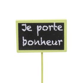 Je porte Bonheur 7.5x5cm on 22cm stick green