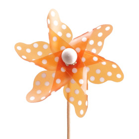 Plastic Windmill 10cm on 50cm stick orange