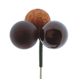 Christmas Balls Trio Mixed 4cm on 50cm stick copper/brass