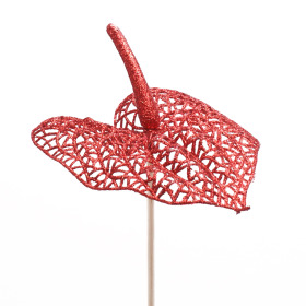 Glitter Anthurium 10cm on 50cm stick red