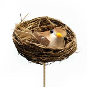 Bird in nest 6cm on 50cm stick brown