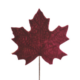 Velvet Autumn leaf 13cm on 10cm stick burgundy