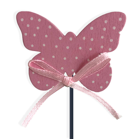 Butterfly Dots Small on 8in stick pink