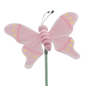 Houten Vlinder 7cm op 50cm stok lila