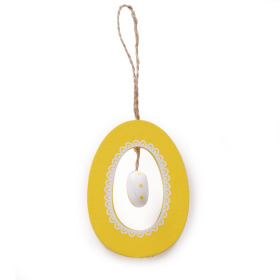 Wooden Egg in Egg 7cm yellow