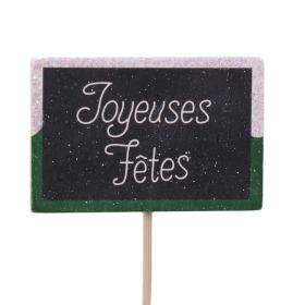 Wooden plate Joyeuses Fêtes 7.5x5cm on 15cm stick green