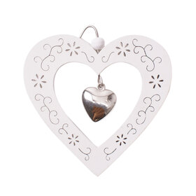 Heart Pendant 9cm with hook white