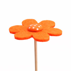 Flower Felt 5cm on 15cm stick orange