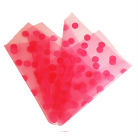 ORGANZA DOTS 20X28 IN WITH 3IN HOLE PINK