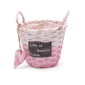 Pot/basket Beautiful Life 15cm pink/white