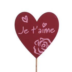 Heart Je t'aime 8cm on 50cm stick red