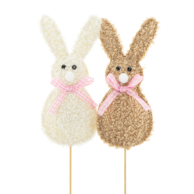 Rabbit Olly & Bolly 14cm on a 50cm stick assorted x2