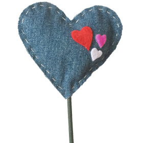 Heart Divine Denim 3.5 in on 20 in stick blue