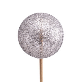 Xmas Deco Ball Glitter Yarn 2.5 in on 20 in stick anthracite