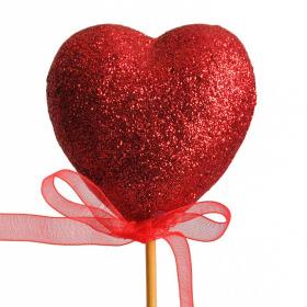 Glitter Heart on 50cm pick red