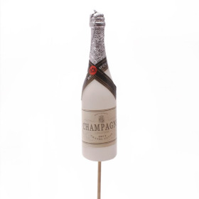 Champagne Bottle 13cm on 50cm stick white
