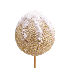 Christmas Ball Blinky 8cm on 50cm stick gold