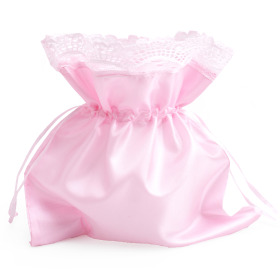 Satin Bag with cord 20x20cm pink