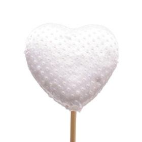 Heart Satin Love 7cm on 50cm stick white