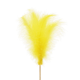 Feather 14cm on 50cm stick yellow
