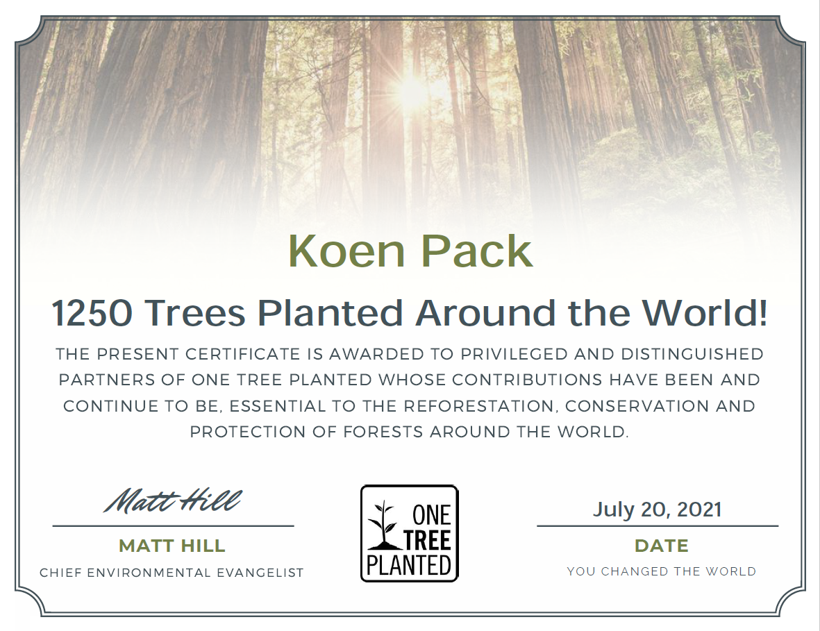 Certificate Onetreeplanted