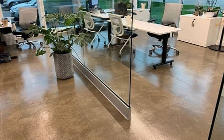 Polished concrete floors in office of Koen Pack Canada