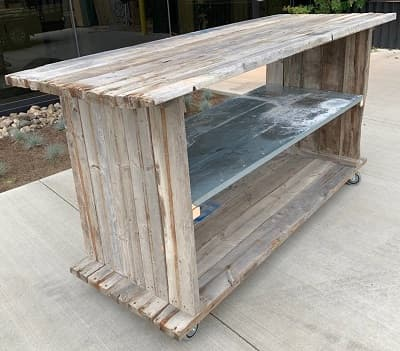 Showroom furniture made from reclaimed materials